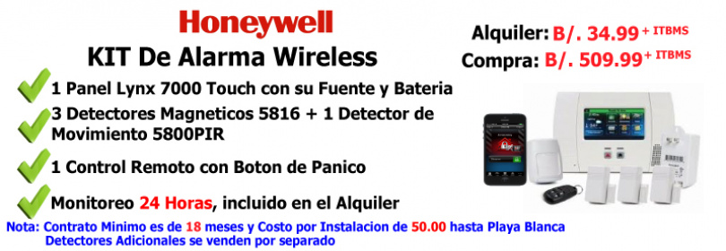 Kit Inalambrico Honeywell Lynx 7000 de Alarma de Instrucción o Robo
